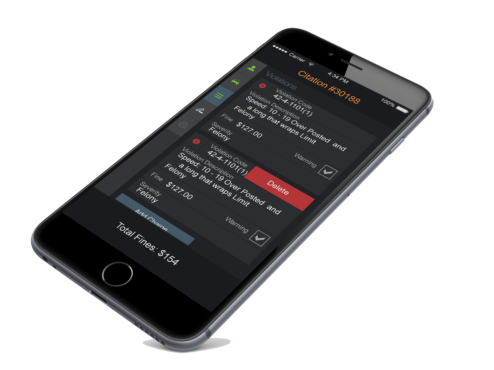 mobile citation charges on iPhone